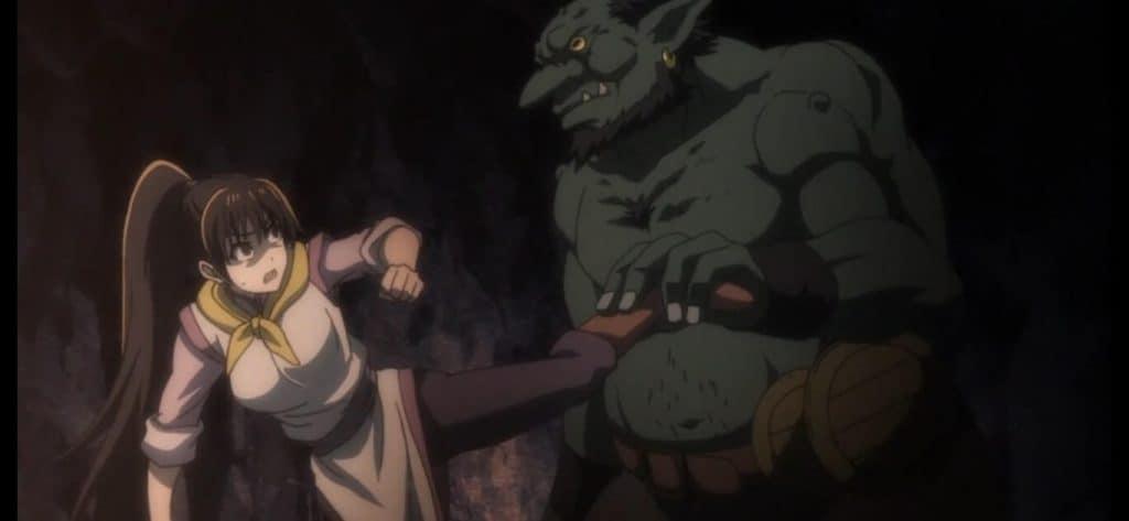 Menina sendo segurada por goblins em Goblin Slayer
