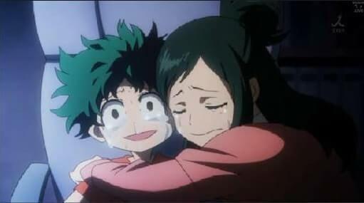 Midoriya chorando com sua mae