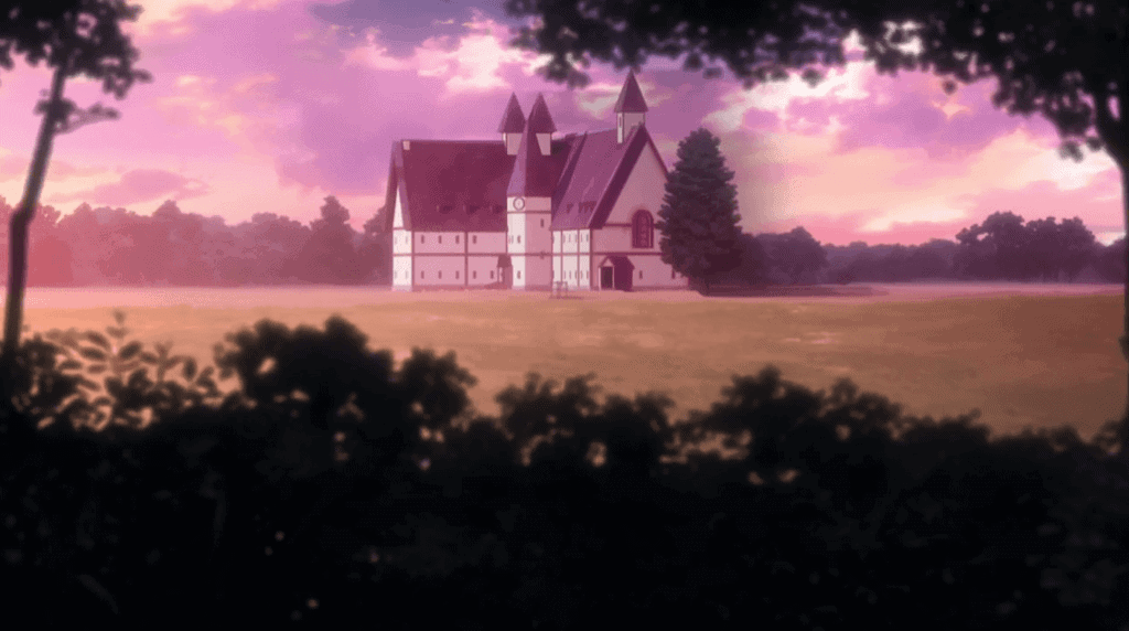 Casa de Grace Field de The Promised Neverland, vista de longe