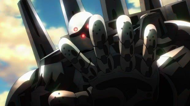 Metal Knight One Punch Man botando a mão na câmera