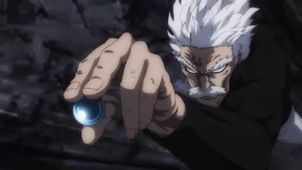 Silver Fang one punch man segurando uma bolinha
