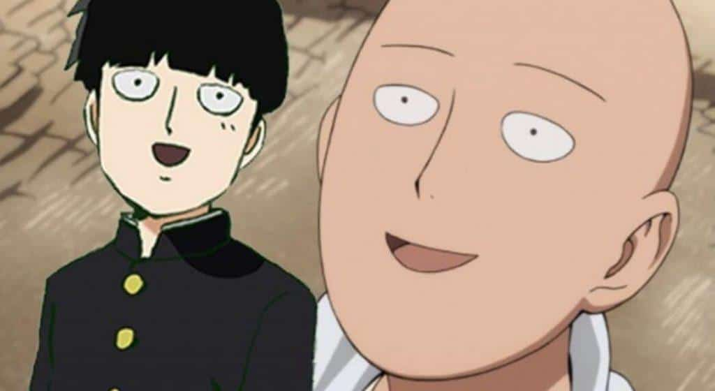Mob e Saitama, sorrindo
