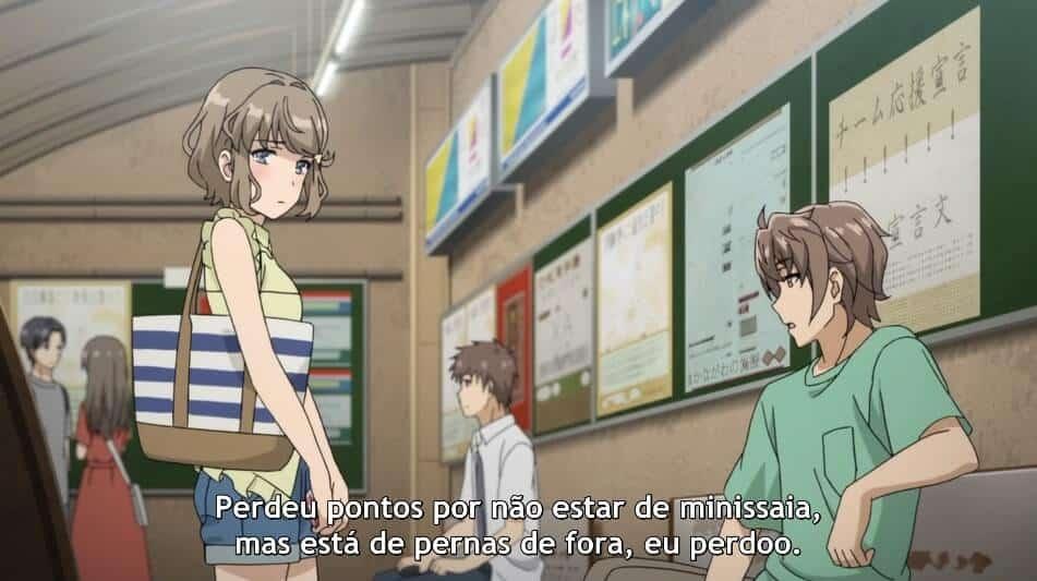 Sakuta sendo ironicamente pervertido com sua amiga