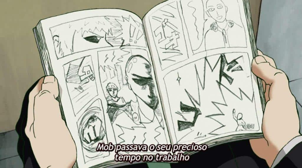 Mob lendo um manga de One Punch