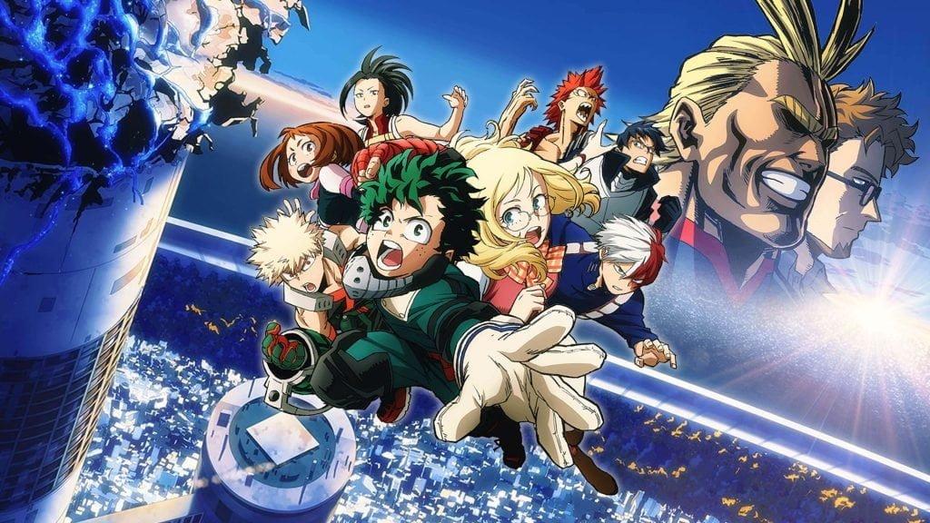 Poster apresentando os personagens do filme de Boku no Hero