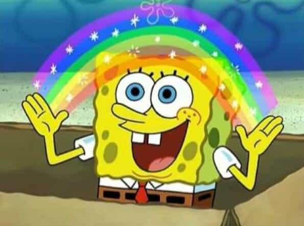 Bob Esponja fazendo arco iris com as mãos