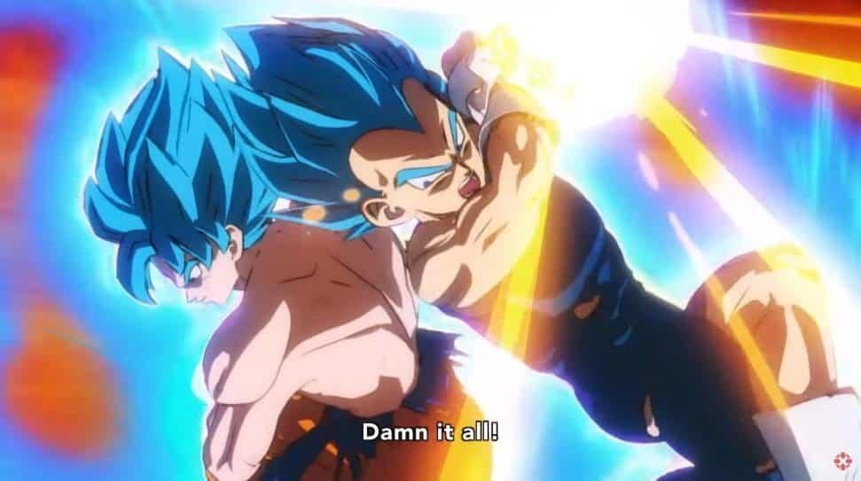 Vegeta e Goku em CGI horrivel soltando magias