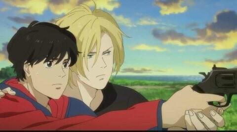 Ash ensinando Eiji a Atirar