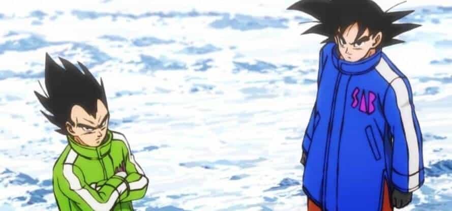 Goku e Vegeta de moletom no gelo