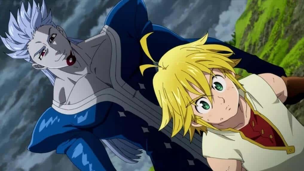 Bellion e Meliodas, lutando no filme de Nanatsu Prisioners of the Sky