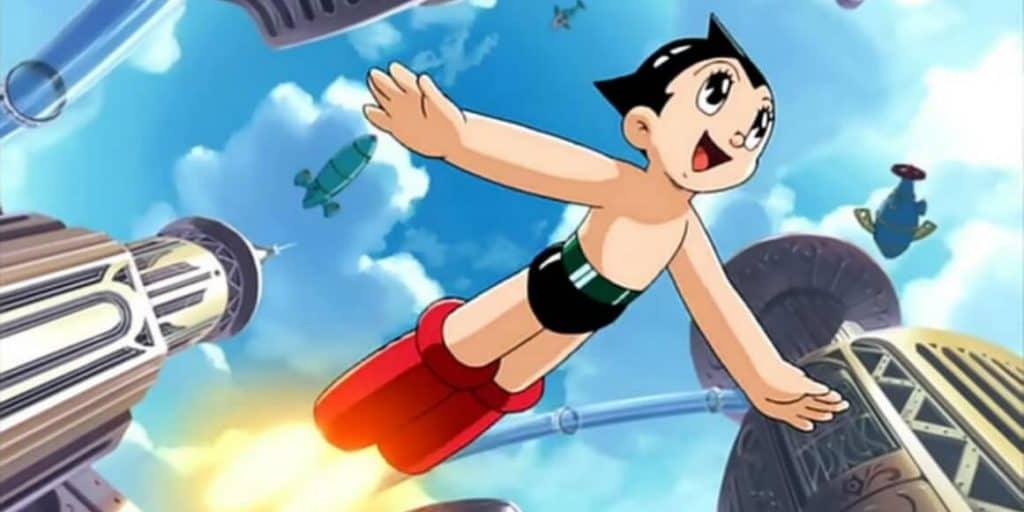 Astro Boy voando pelo ar