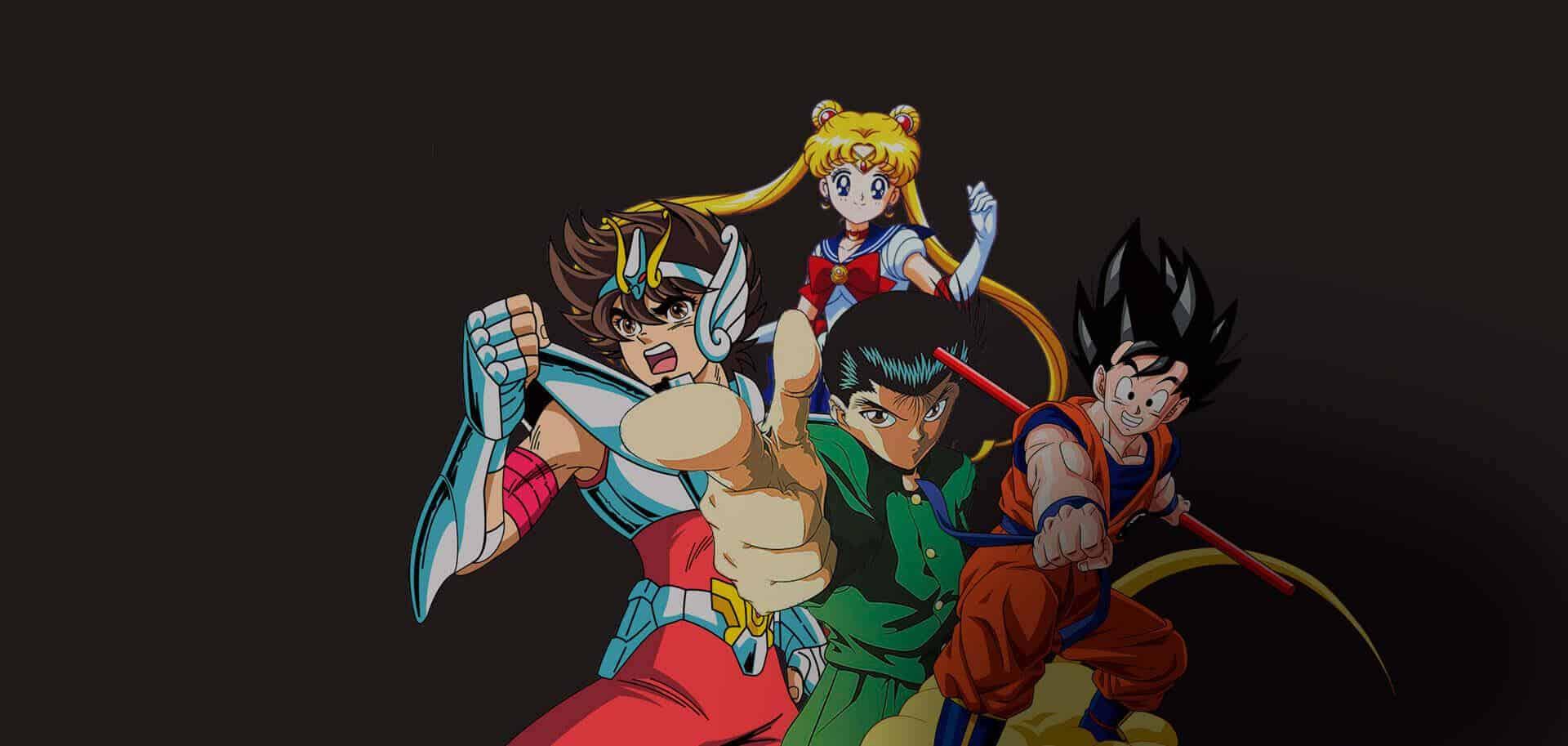 Personagens icônicos dos animes. Seya, Yusuke, Goku...