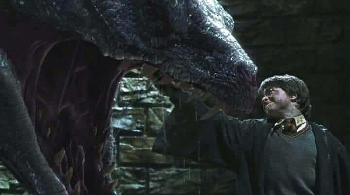 Harry Potter e a Camara Secreta, basilisco sendo morto