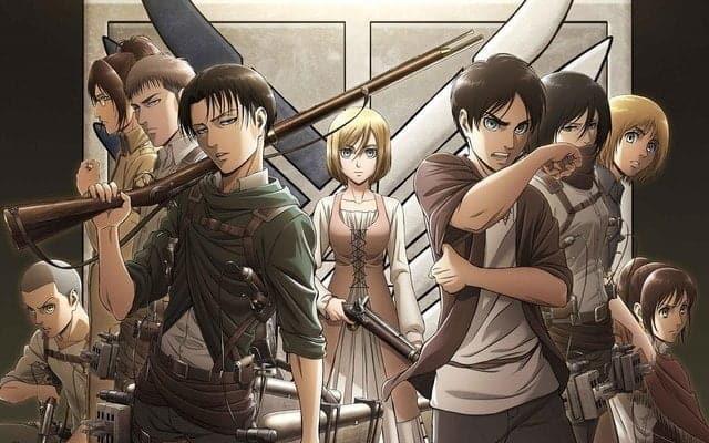 Shingeki no Kyojin, capa da segunda temporada mostrando elenco