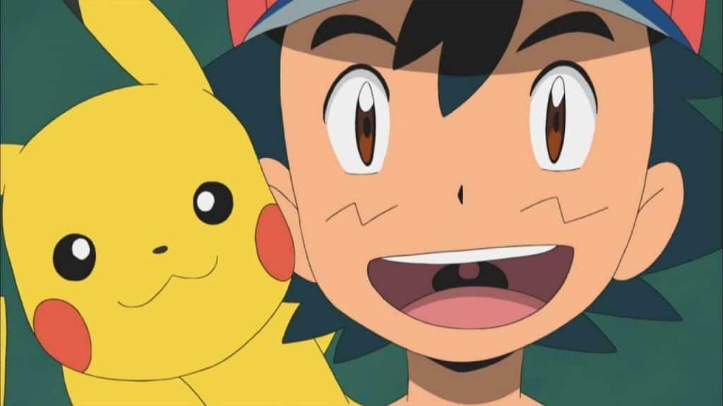 Ash e Pikachu sorrindo, felizes