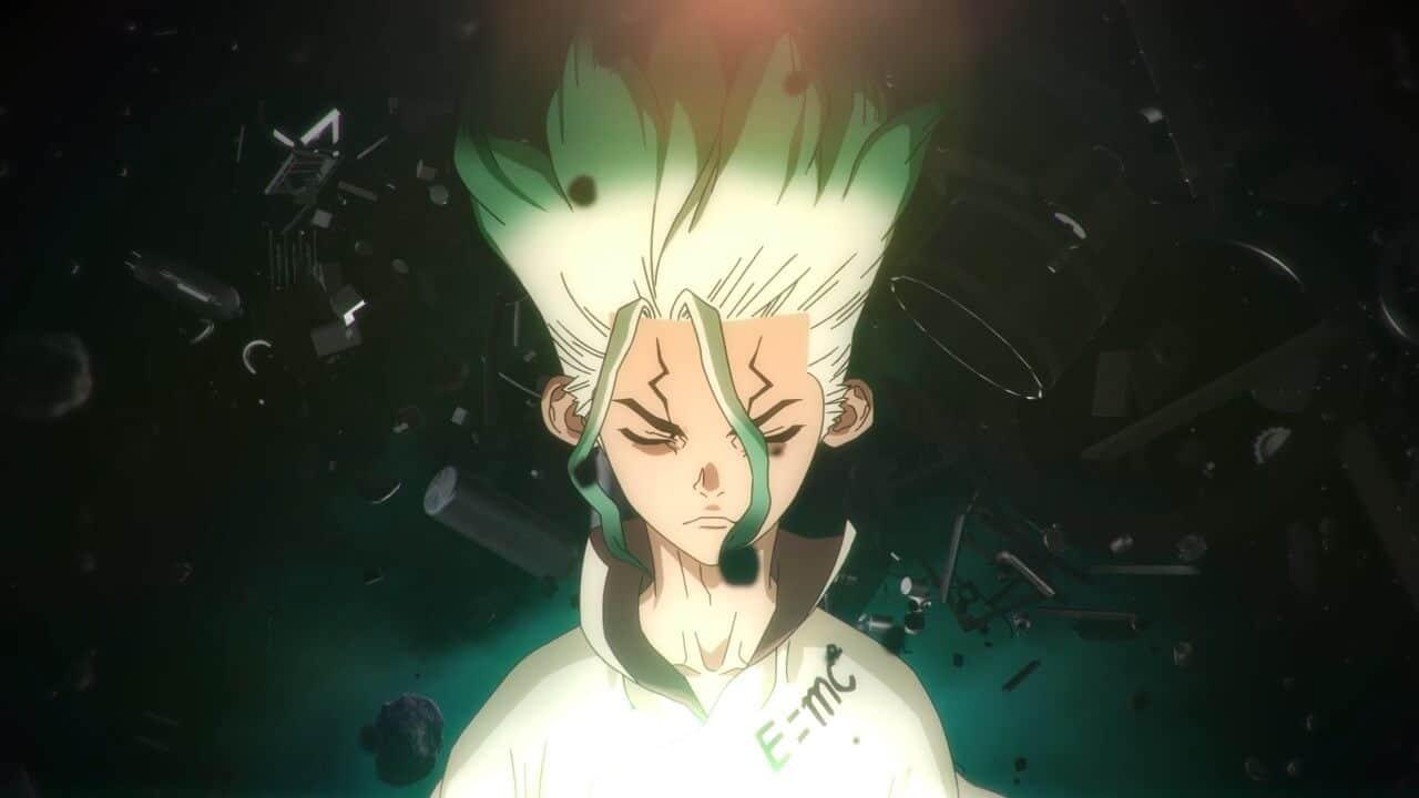 Dr Stone Senku, protagonista, de olhos fechados