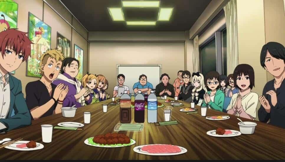 Elenco de Shirobako em uma mesa, comendo