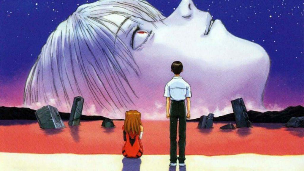 Shinji e Asuka, assistindo o começo de tudo, em Neon Genesis Evangellion