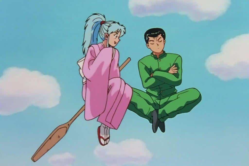 Botan falando com Yusuke, na vassoura