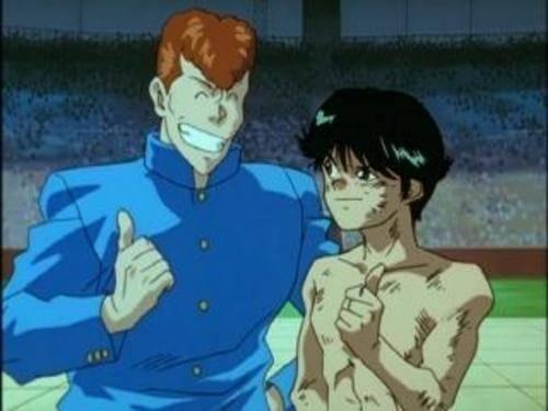 Yusuke e Kuwabahra comemorando