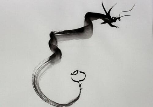 Desenho Chinês chamado sumi-ê, com um Dragão