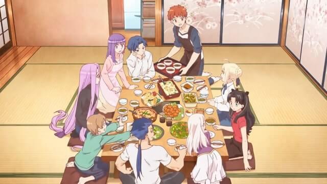 Today's Menu for Emiya Family pessoal sentado na mesa comendo