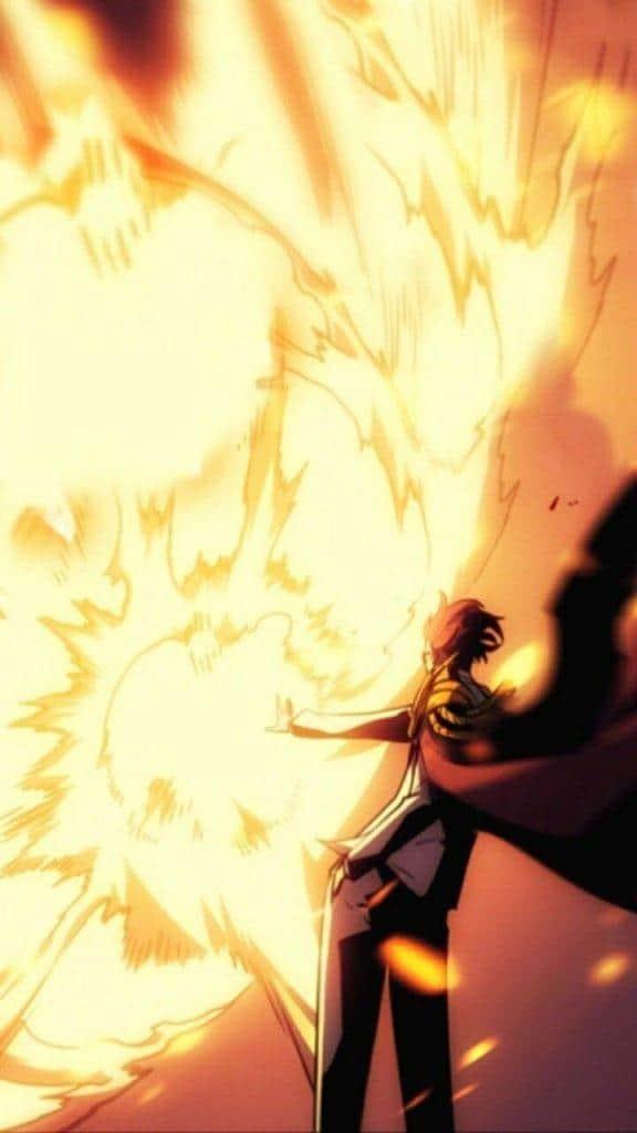 Jong-In mostrando seu poder de fogo com uma explosão