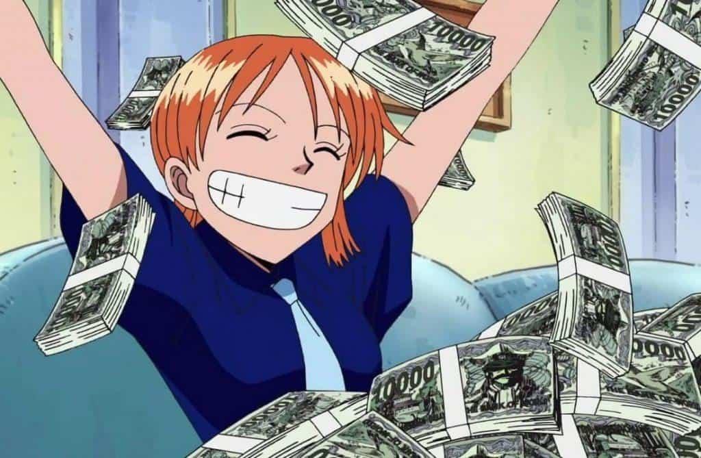 Nami com uma pilha de dinheiro em sua frente