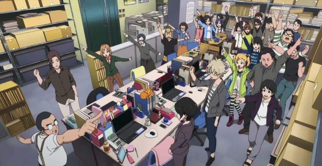 Shirobako-momento-do-stand-up-meeting