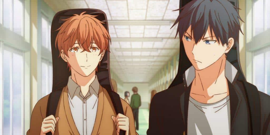 Protagonistas de given, Uenoyama e Mafuyu, no corredor da escola