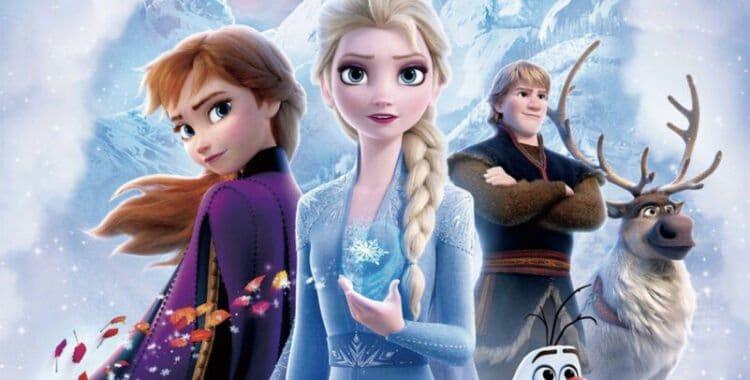 frozen animação poster com elsa na frente com 2 amigos atrás