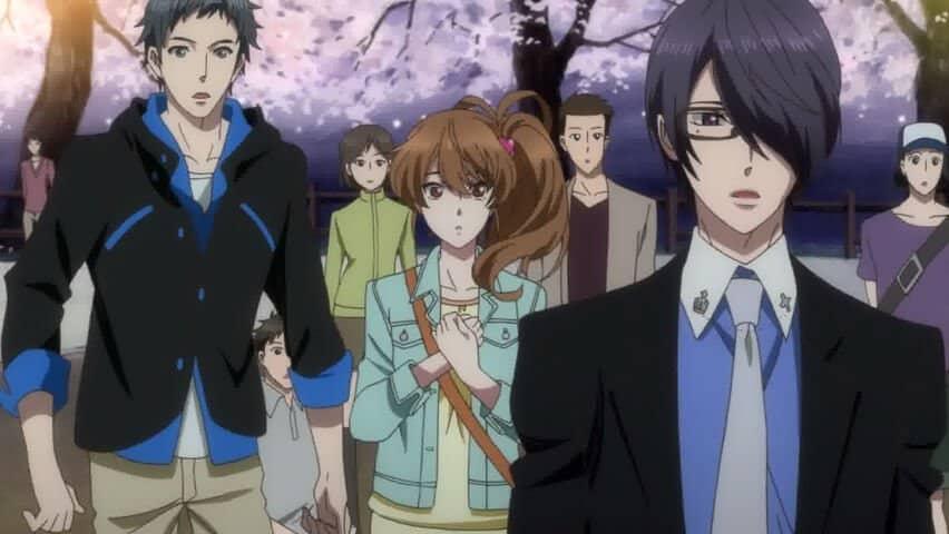 BROTHERS CONFLICT anime, com um cara de óculos e a protagonista de fundo