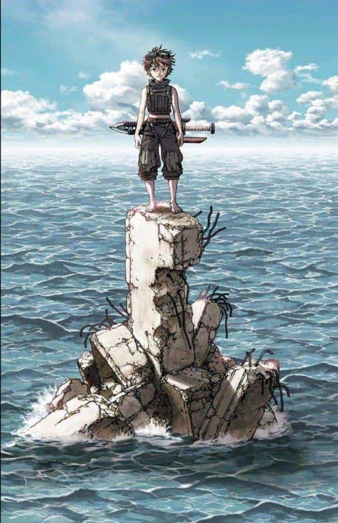 Bota-Leviathan, em cima de uma pedra no meio do mar