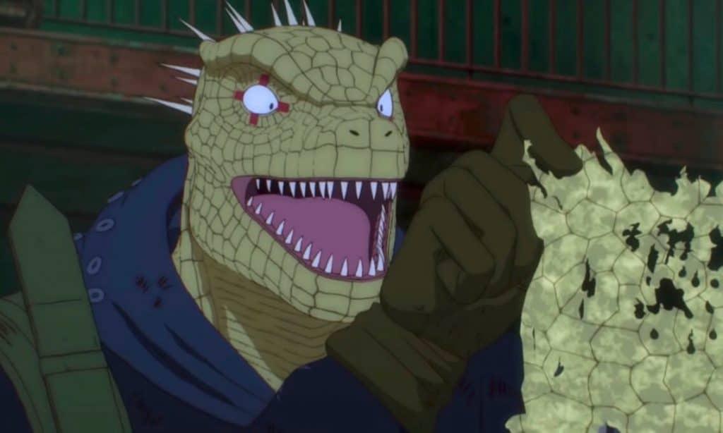 Dorohedoro-anime-Kainam com uma escama na mão