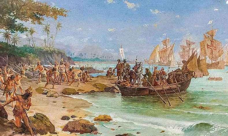 Portuguêses chegando ao brasil