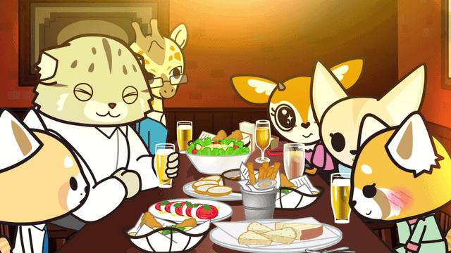 aggretsuko-happyhour um goukon encontro coletivo