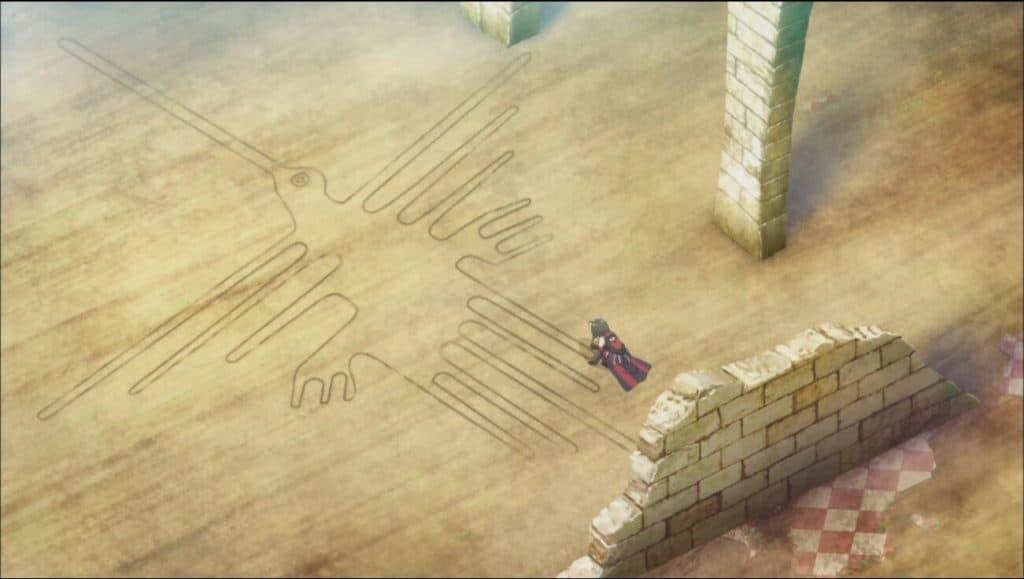 Um passaro estranho desenhado no chão e um personagem analisando ele