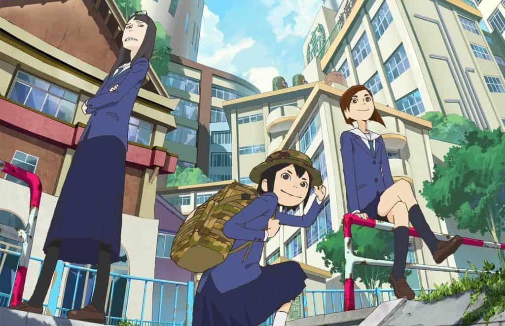Capa de Eizouken com as três protagonistas