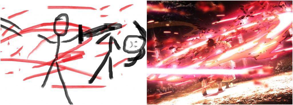 Desenho feito a mão a esquerda, cena de luta de demon slayer a direita