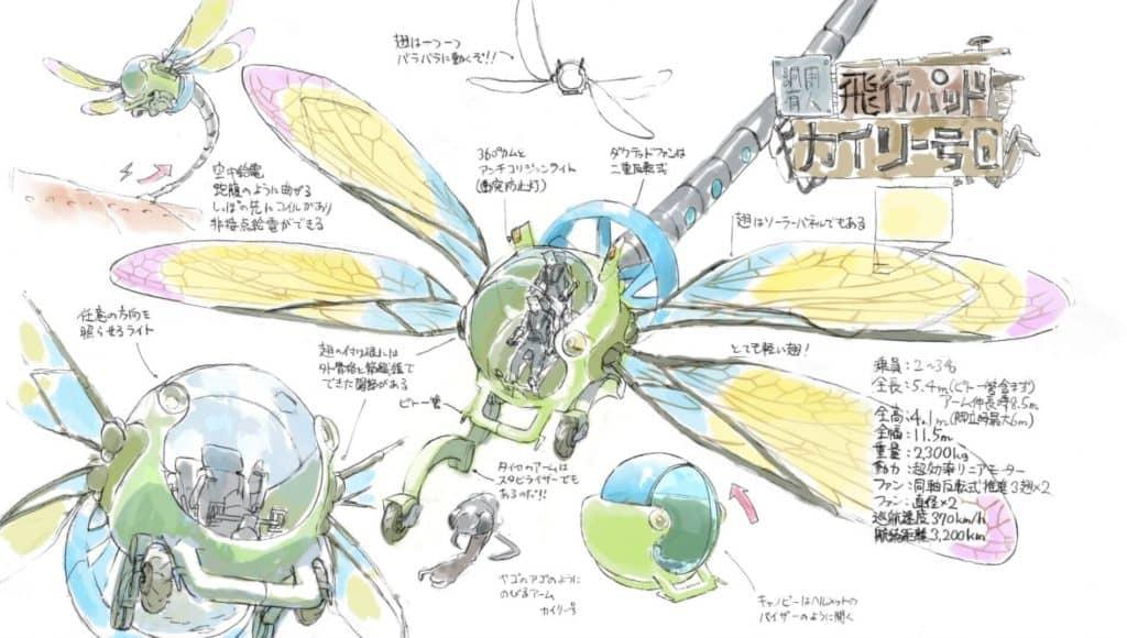 Desenho conceitual de um Helicóptero em formato de Libélula
