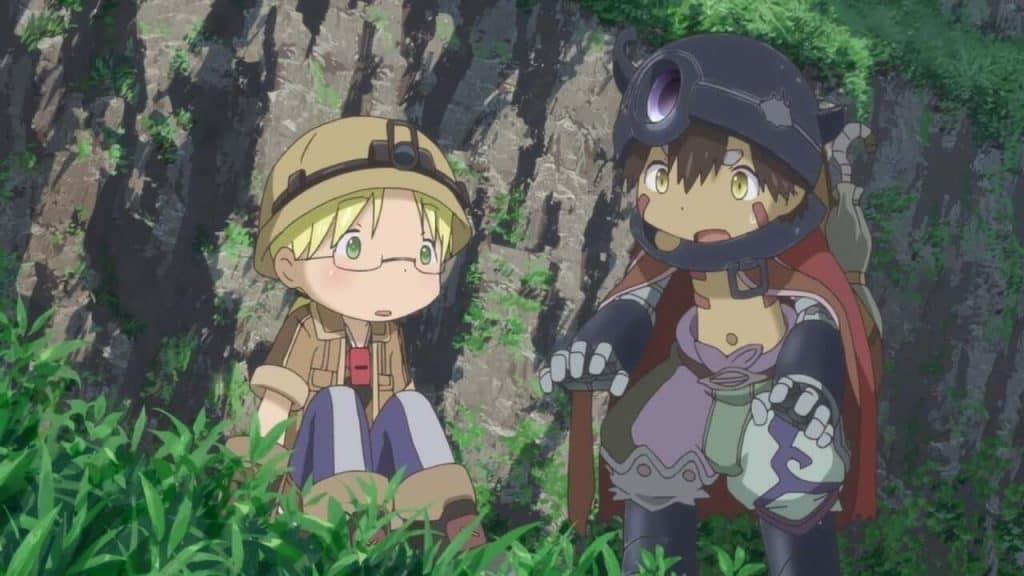 Made in Abyss Riko e Reg explorando o abismo juntos na floresta