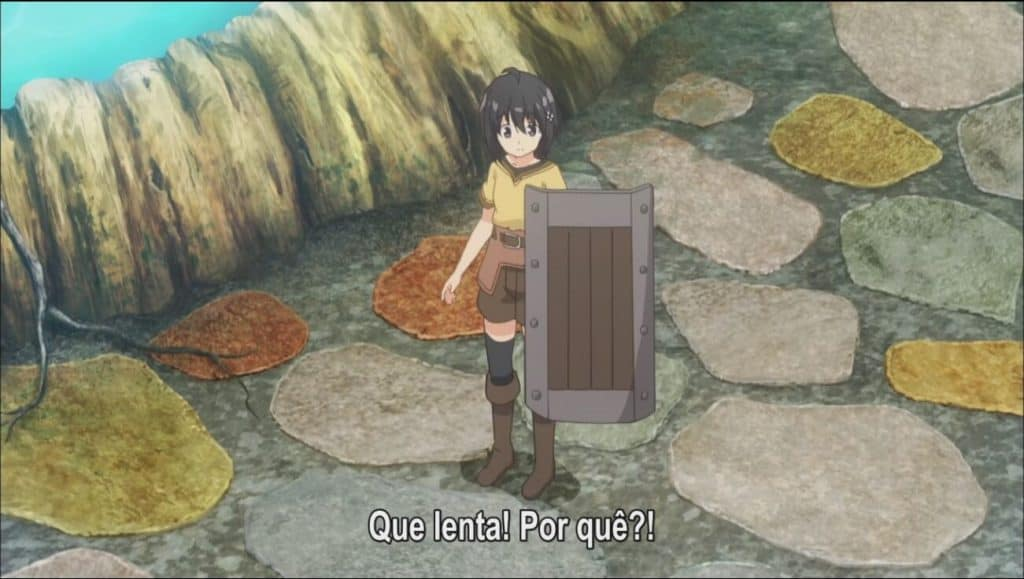 Maple de Bofuri segurando um escudo de madeira no centro da imagem