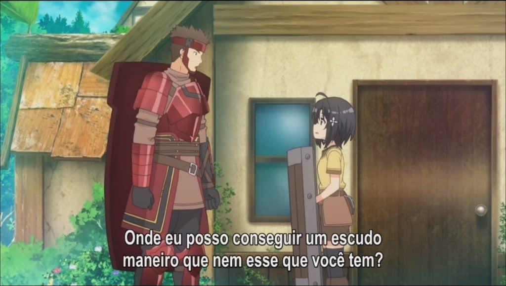 Kuromu com de armadura vermelha e um escudo grande nas costas de frente para a maple com um escudo de madeira Bofuri
