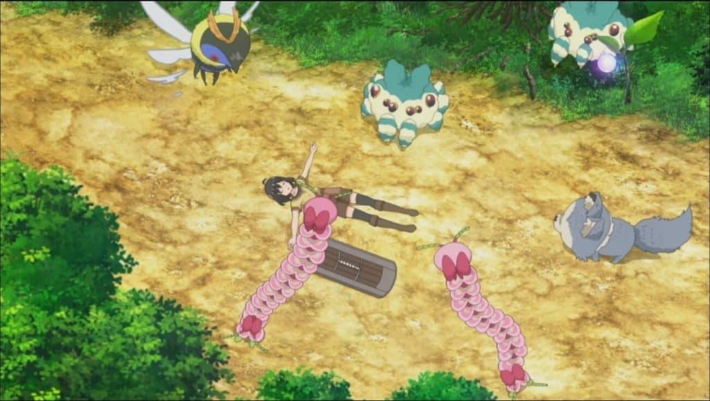 Maple de Bofuri deitada no chão com o escudo do lado e vários bichos em volta dela