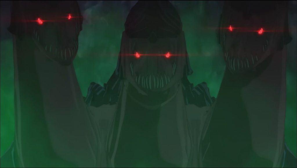 Bofuri - Dragão de três cabeças com os olhos vermelhos com uma fumaça verde ao redor dele