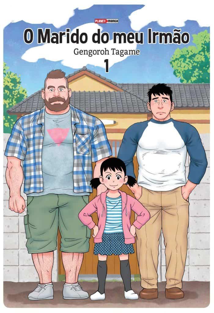 Capa do volume 1 do manga O marido do meu irmão: Mike, kana e Yaichi em uma foto