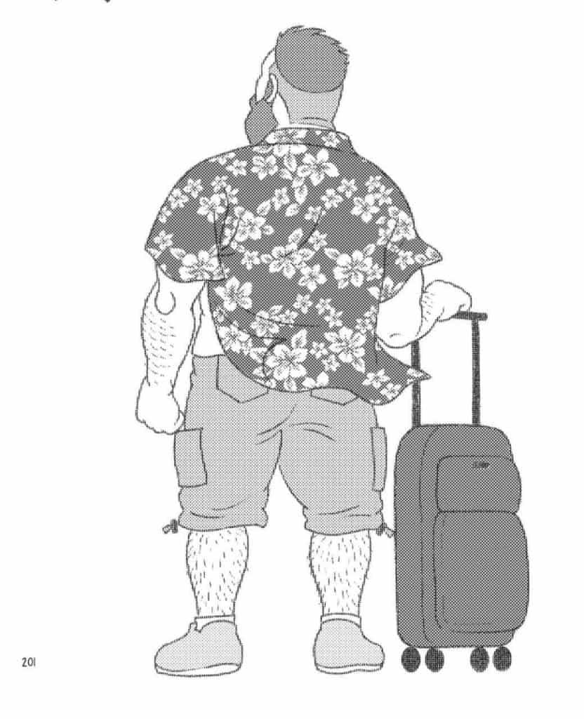 O-marido-do-meu-irmão-Mike de costas com uma mala