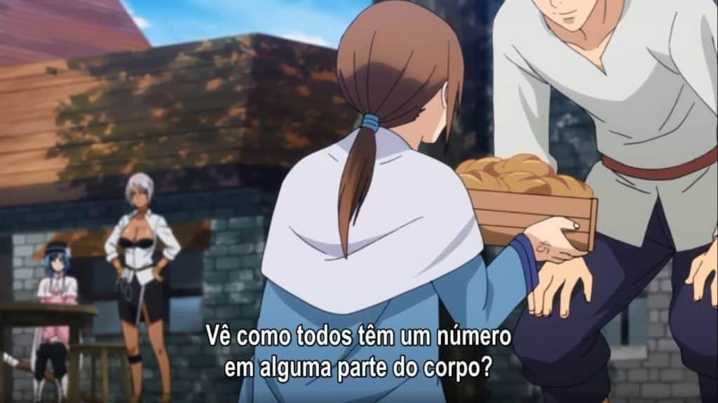 Uma mulher a frente entregando uma cesta de pães para um homem e ao fundo hina e outro personagem conversando sobre as regras de Plunderer