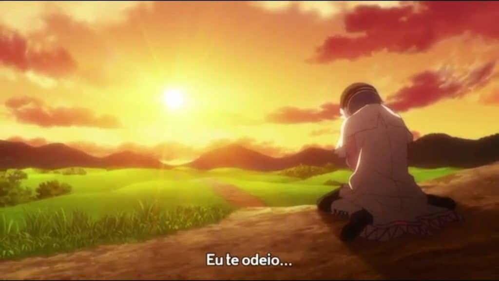 Hina protagonista de Plunderer chorando ao por do sol