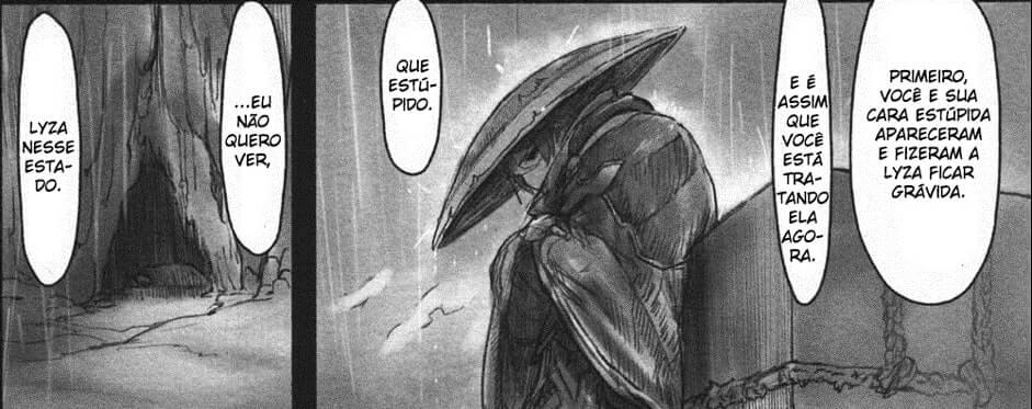 imagem do manga de made in abyss com ozen falando de lyza
